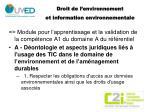 droit de l environnement et information environnementale
