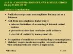 aas 21 consideration of laws regulations in an audit of fs auditor s consideration