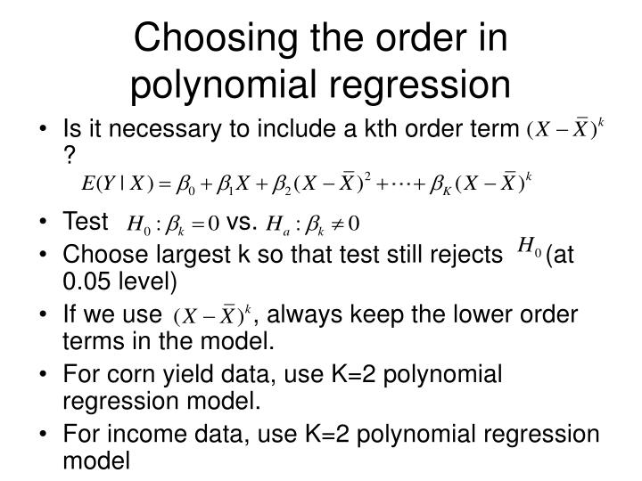 Choosing the order in polynomial regression