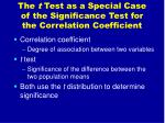 the t test as a special case of the significance test for the correlation coefficient
