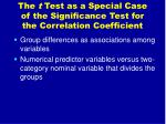 the t test as a special case of the significance test for the correlation coefficient1