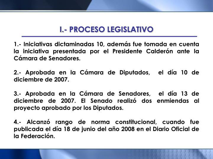 I.- PROCESO LEGISLATIVO