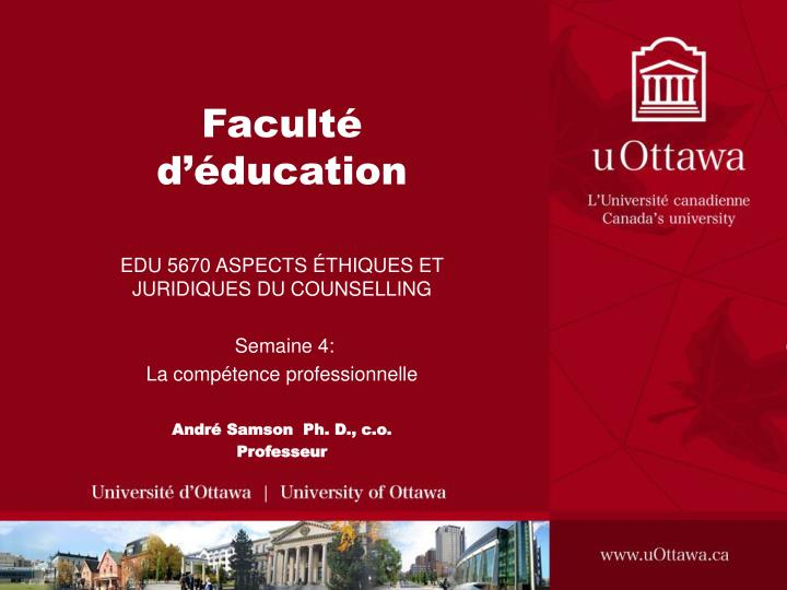 facult d ducation n.