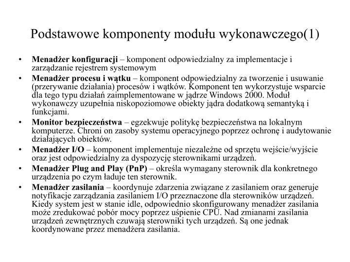 Podstawowe komponenty modułu wykonawczego(1)