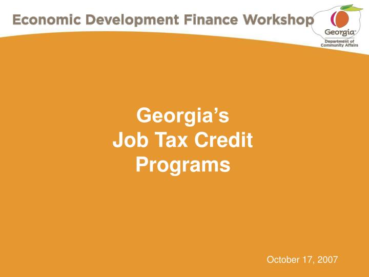 georgia s job tax credit programs n.