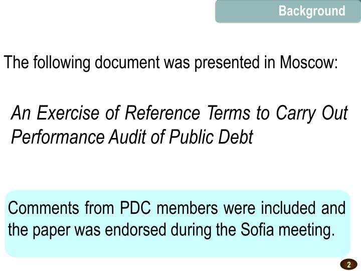 An exercise of reference terms to carry out performance audit of public debt
