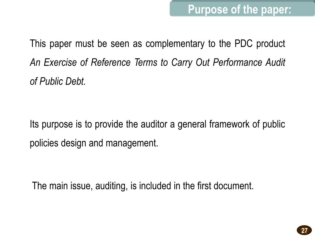 Purpose of the paper: