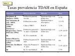 tasas prevalencia tdah en espa a