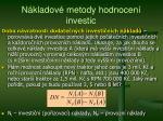 n kladov metody hodnocen investic