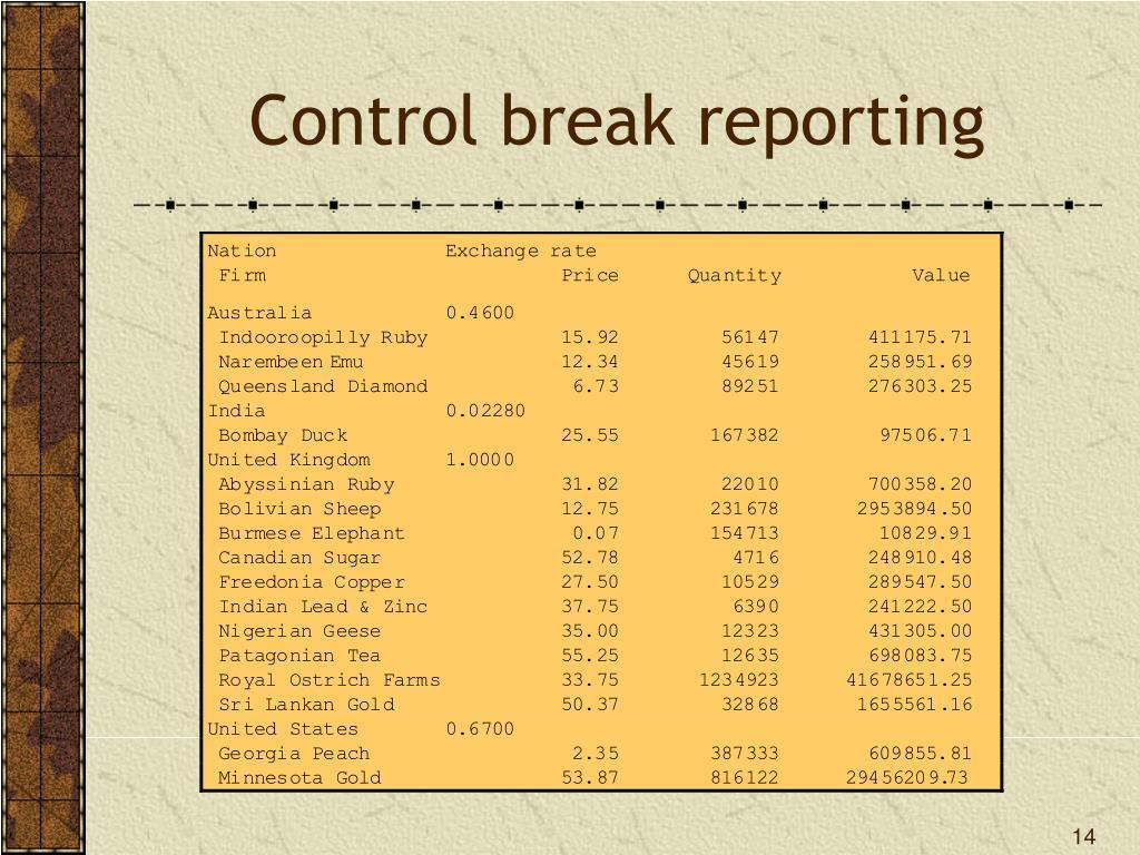 Control break reporting