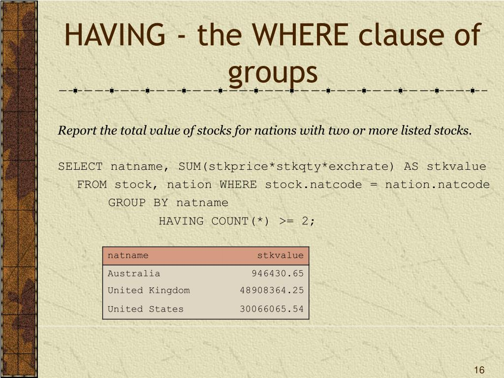 HAVING - the WHERE clause of groups