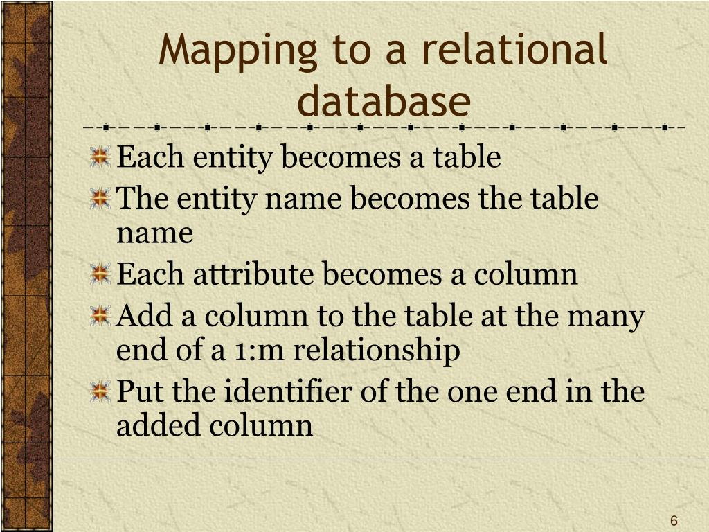 Mapping to a relational database