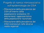 progetto di ricerca interassociativa sull epidemiologia dei dsa