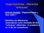 organizaciones diferentes enfoques