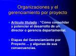 organizaciones y el gerenciamiento por proyecto