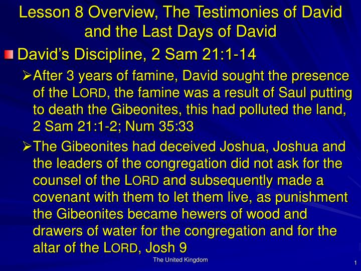 Lesson 8 overview the testimonies of david and the last days of david