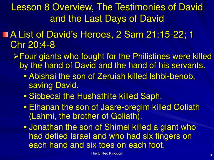 Lesson 8 overview the testimonies of david and the last days of david3
