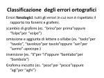 classificazione degli errori ortografici