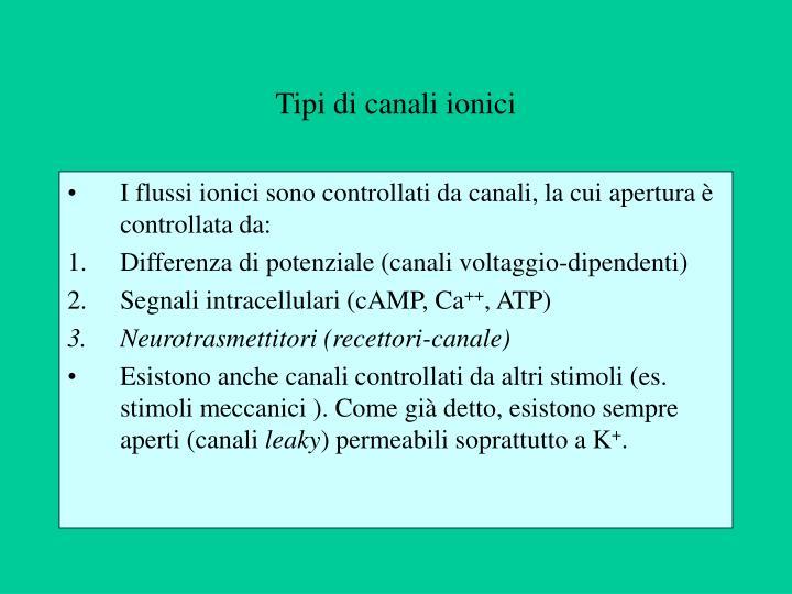 Tipi di canali ionici