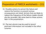 preparation of fmeca worksheets 11