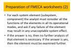 preparation of fmeca worksheets 2