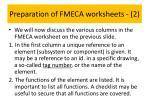 preparation of fmeca worksheets 21