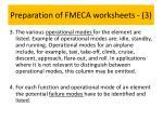 preparation of fmeca worksheets 3