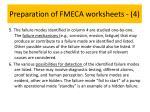 preparation of fmeca worksheets 4