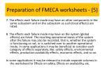 preparation of fmeca worksheets 5