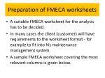 preparation of fmeca worksheets