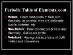 periodic table of elements cont