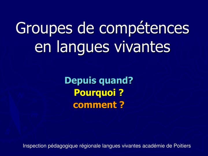 ppt - groupes de comp u00e9tences en langues vivantes powerpoint presentation