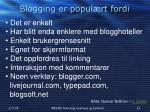 blogging er popul rt fordi
