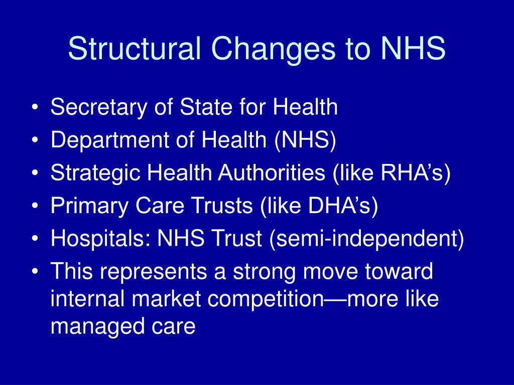 Structural Changes to NHS