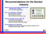 recommendations for the nuclear industry