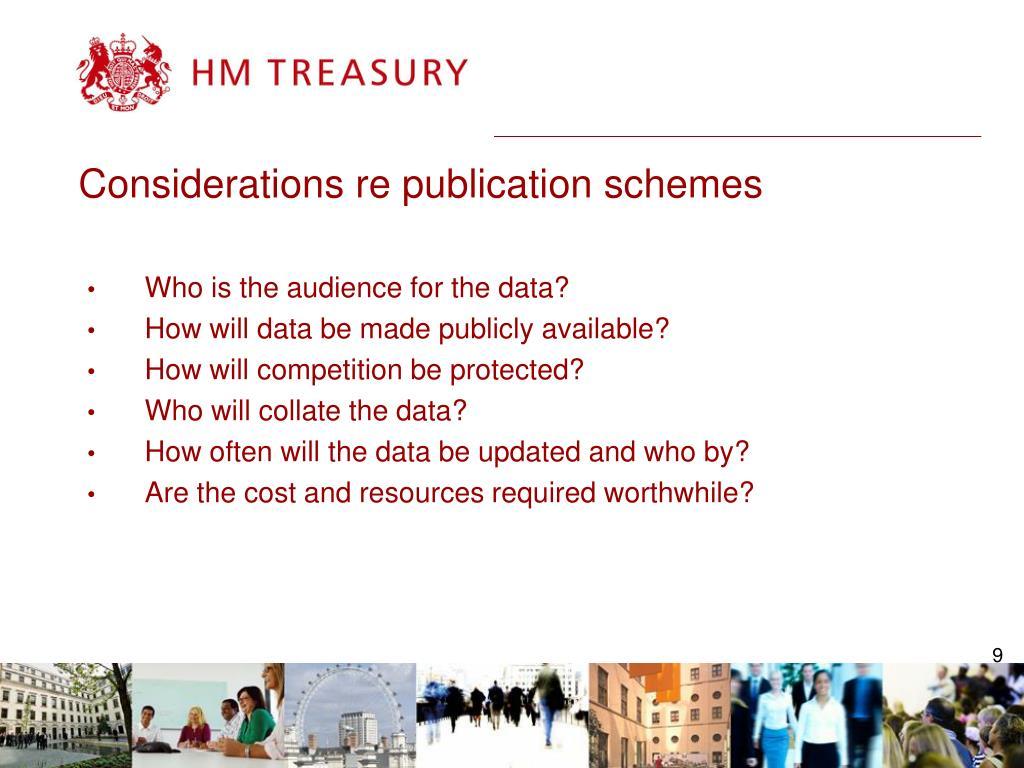 Considerations re publication schemes