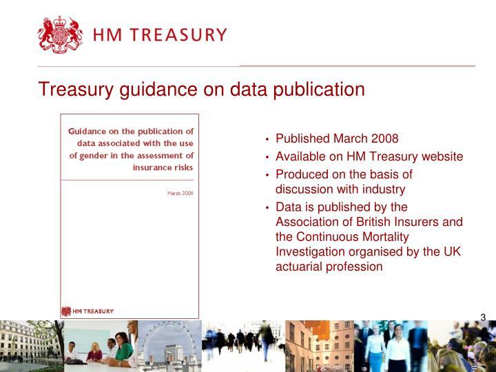 Treasury guidance on data publication