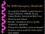 the who emergency health kit
