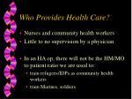 who provides health care