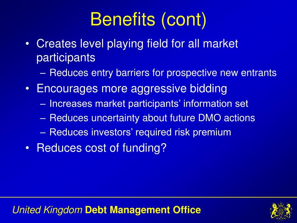 Benefits (cont)