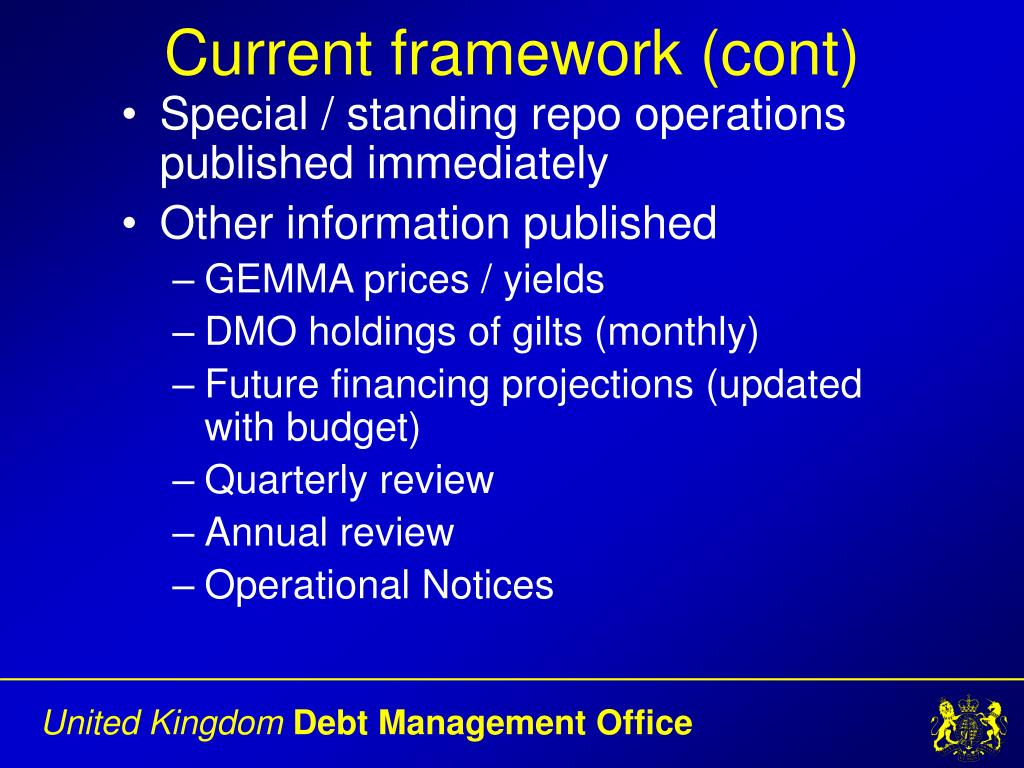 Current framework (cont)