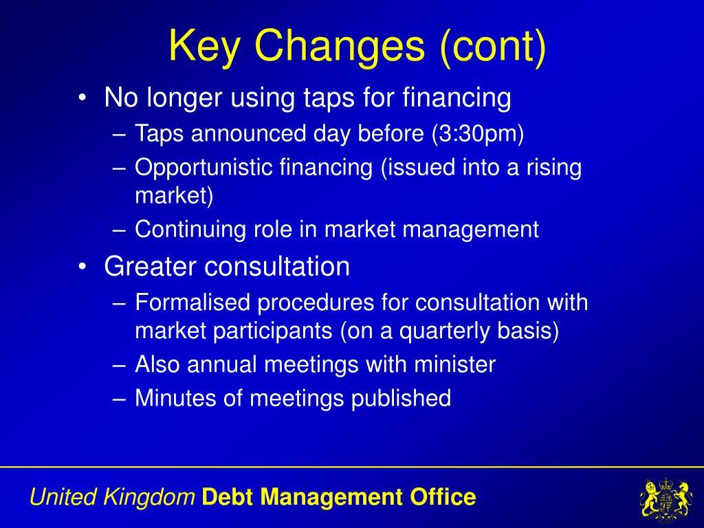Key Changes (cont)