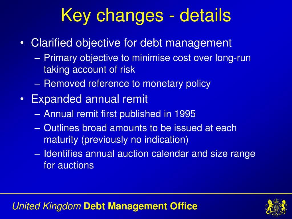 Key changes - details