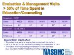evaluation management visits 50 of time spent in education counseling