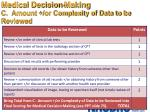 medical decision making c amount or complexity of data to be reviewed