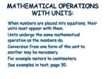 mathematical operations with units