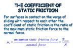 the coefficient of static friction