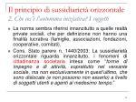 il principio di sussidiariet orizzontale 2 che cos l autonoma iniziativa i soggetti1