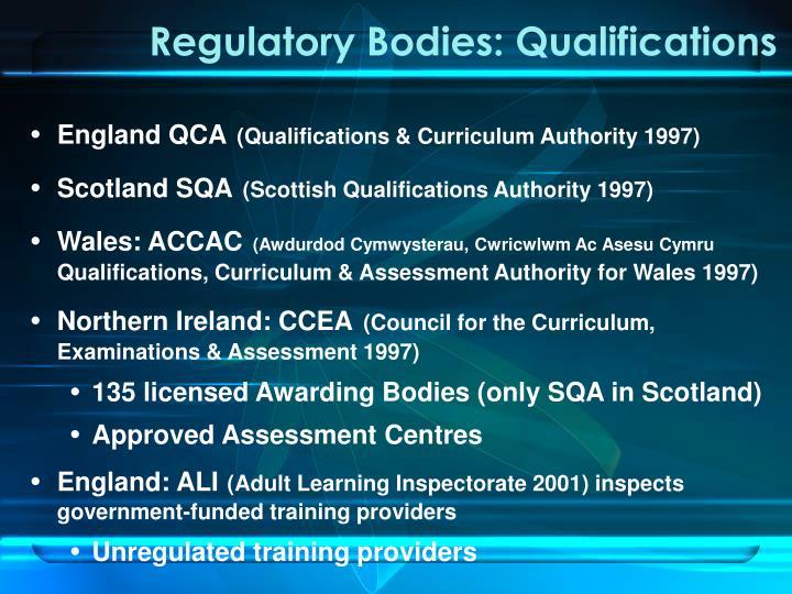 Regulatory bodies qualifications