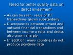 need for better quality data on direct investment